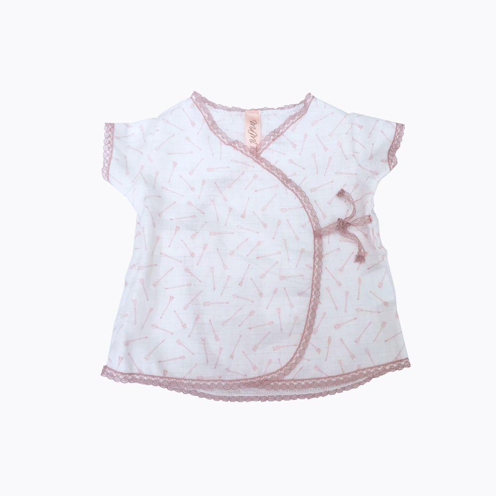 camisa rosa cruzada bebé